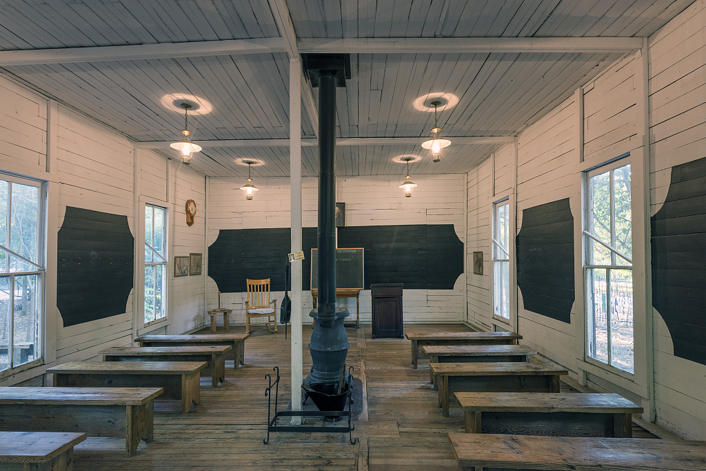 Classroom of the Marine School at Log Cabin Village, a house museum consisting of saved rural cabins moved to a central site in Fort Worth, Texas