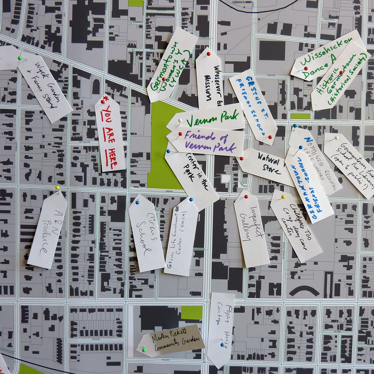 Map of Germantown, Philadelphia with pins